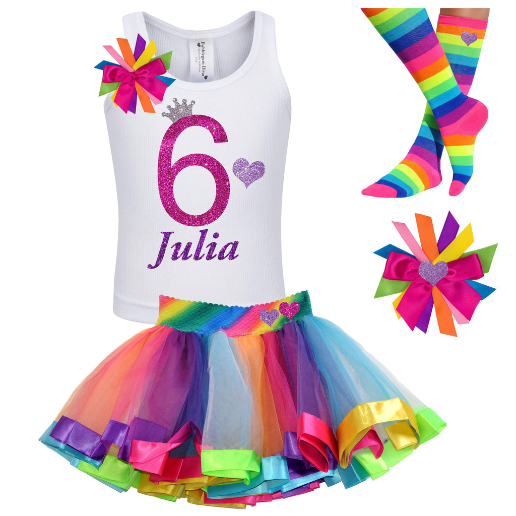 Rainbow 6th Birthday Tutu Dress Pink 6 Party Outfit Glitter Heart Hair Bow Rainbow Knee High Socks 6th Birthday Personalized Custom Name Six