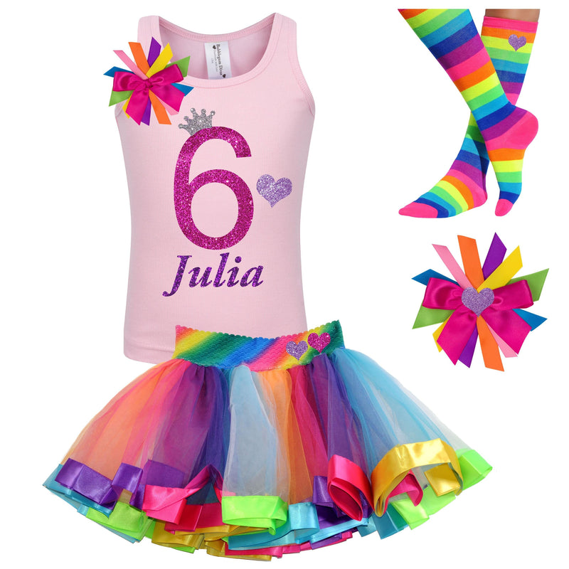 Pink Rainbow 6th Birthday Outfit