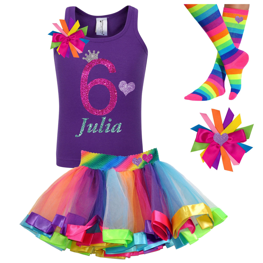 Purple 6th Birthday Shirt Tutu Skirt Girls Sixth Birthday Party Hair Bow Rainbow Knee Socks Hot Pink 6th Birthday Outfit Personalized Name