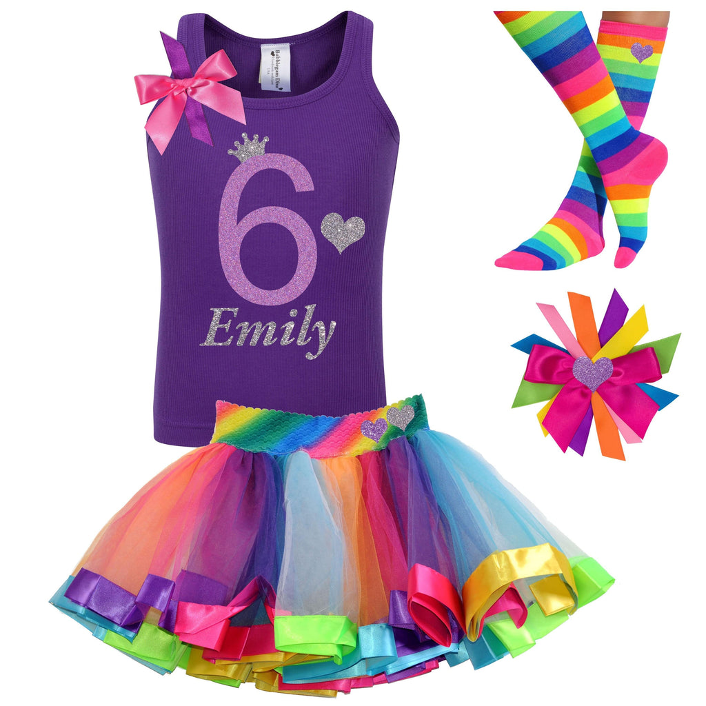 6th Birthday Shirt Girls 6 Birthday Outfit Purple Lavender Rainbow Socks Sparkle Silver Crown Heart Princess Kids Personalized Name Shirt