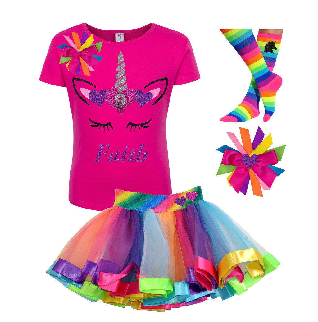 Unicorn - 9th Birthday Girl Shirt - 9th Birthday Outfit - Bubblegum Divas Store