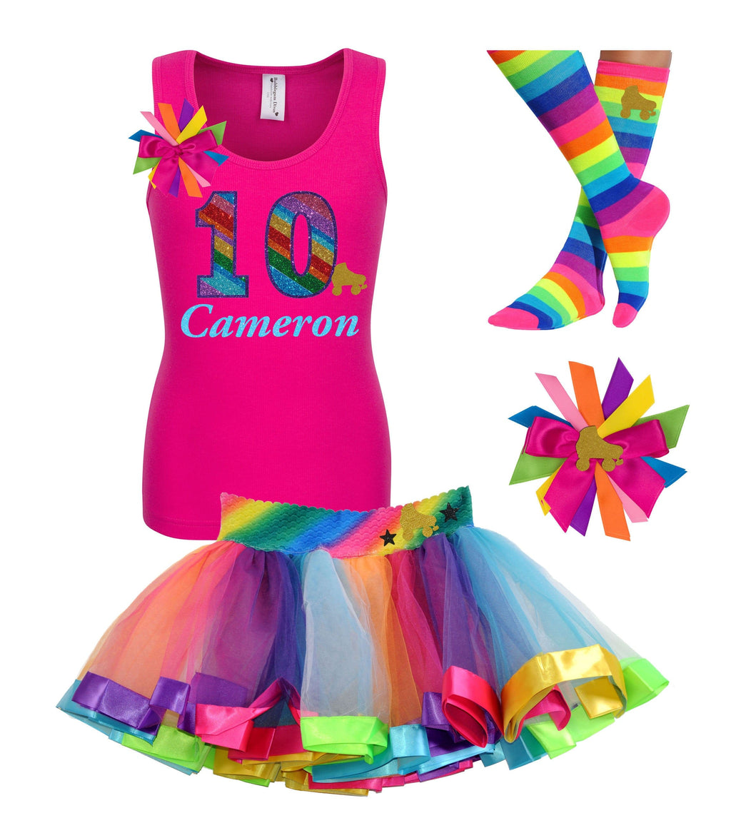 10th Birthday Roller Skate Party Outfit Pink Rainbow Lighting - Bubblegum Divas Store