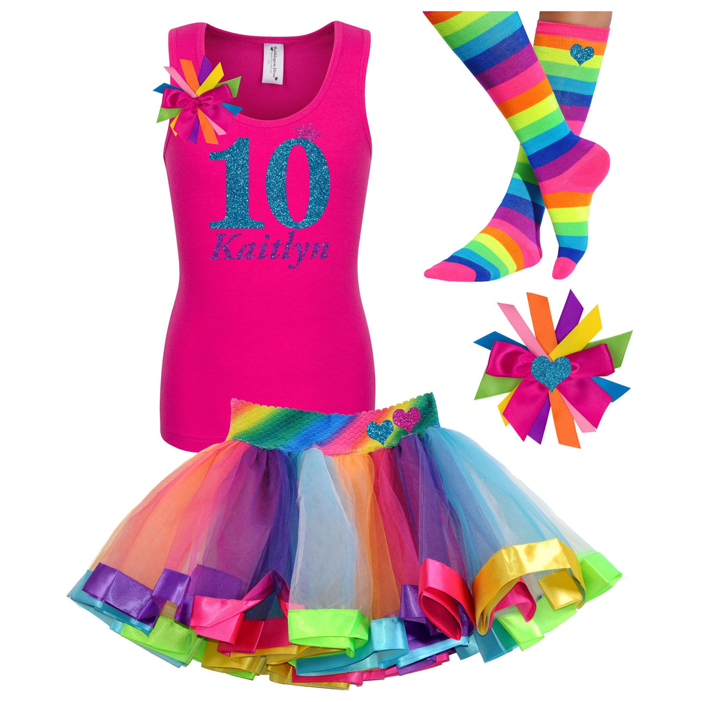 10th Birthday Outfit Ruby Rainbow - 10th Birthday - Bubblegum Divas Store