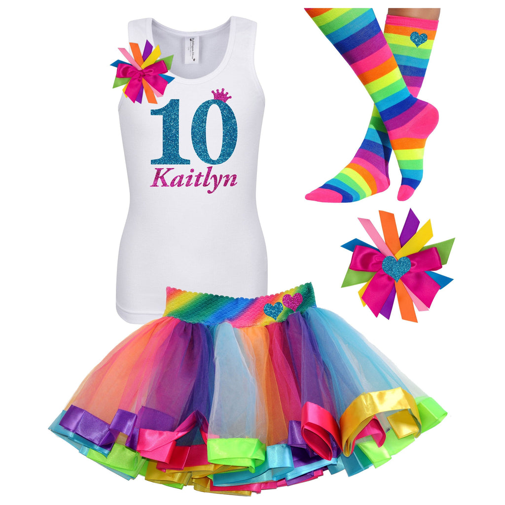 10th Birthday Girl Shirt Double Digits Tween Birthday Outfit Tenth Birthday Rainbow Tutu Skirt Kids Party Blue Glitter 10 Personalized Name