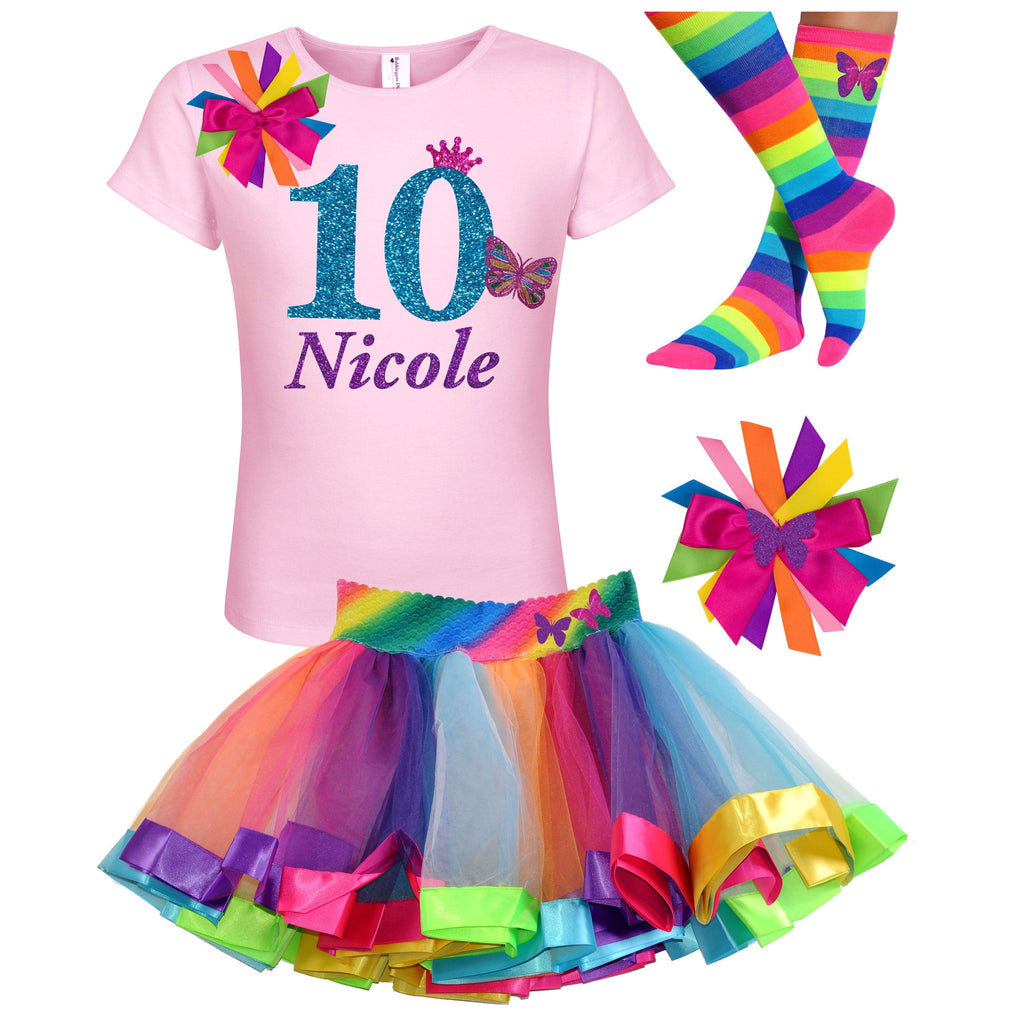 10th Birthday Shirt Rainbow Tutu Outfit Pink Monarch Butterfly Hair Bow Butterfly Socks Black Shirt 10 Personalized Name Tween Girl Party 10