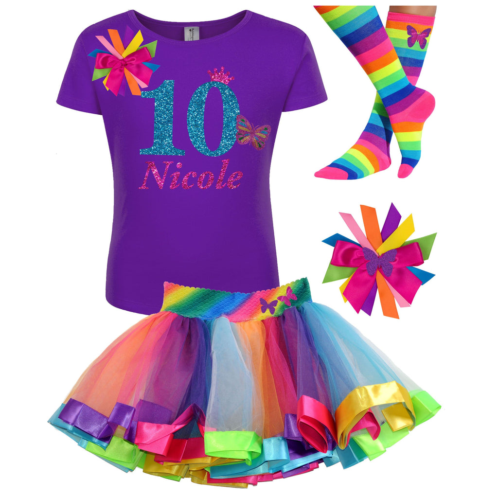 10th Birthday Butterfly Rainbow Outfit - 10th Birthday - Bubblegum Divas Store