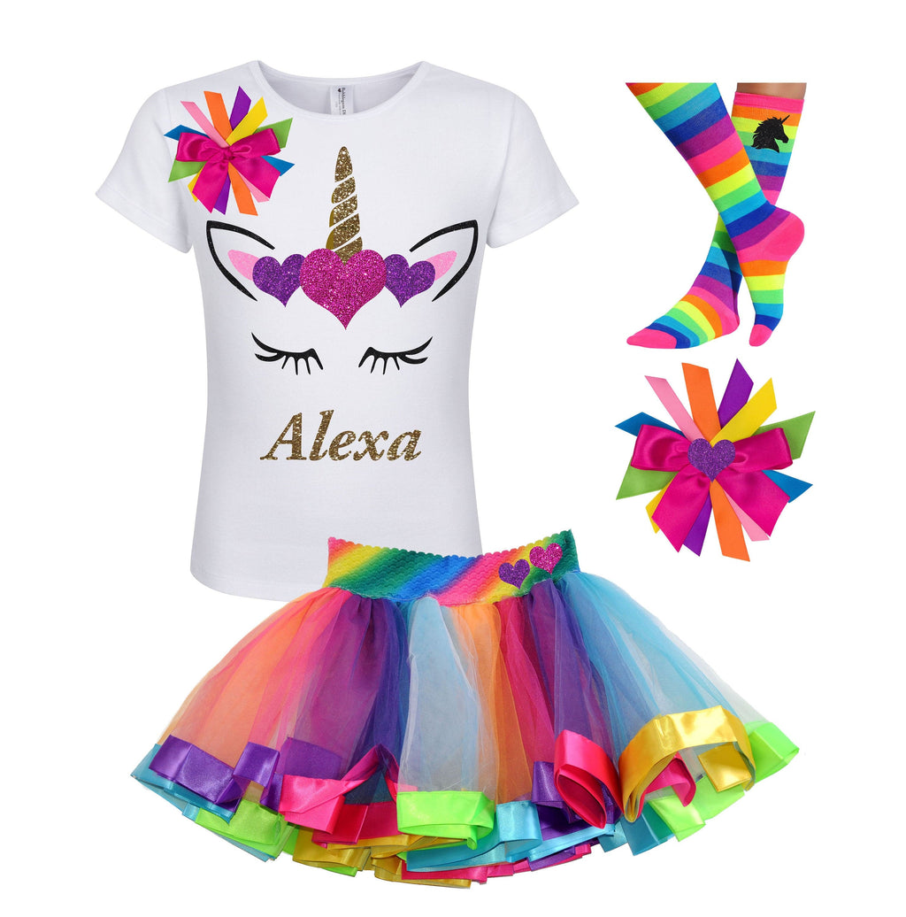 Unicorn Birthday Outfit Rainbow Tutu Gold Unicorn Horn Unicorn Socks Girls Birthday Shirt Unicorn Birthday Shirt Age 3 4 5 6 7 8 9 10 11 12