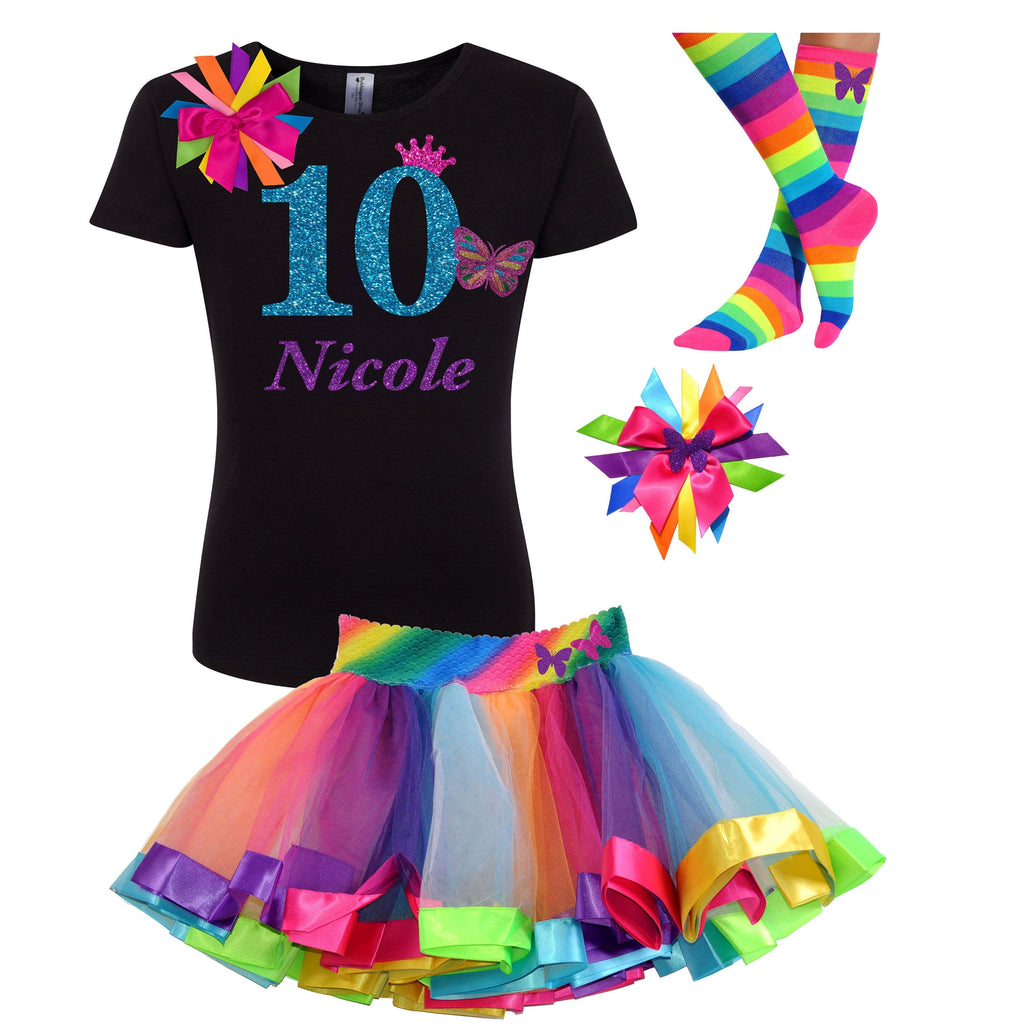 10th Birthday Outfit Butterfly Rainbow - 10th Birthday - Bubblegum Divas Store