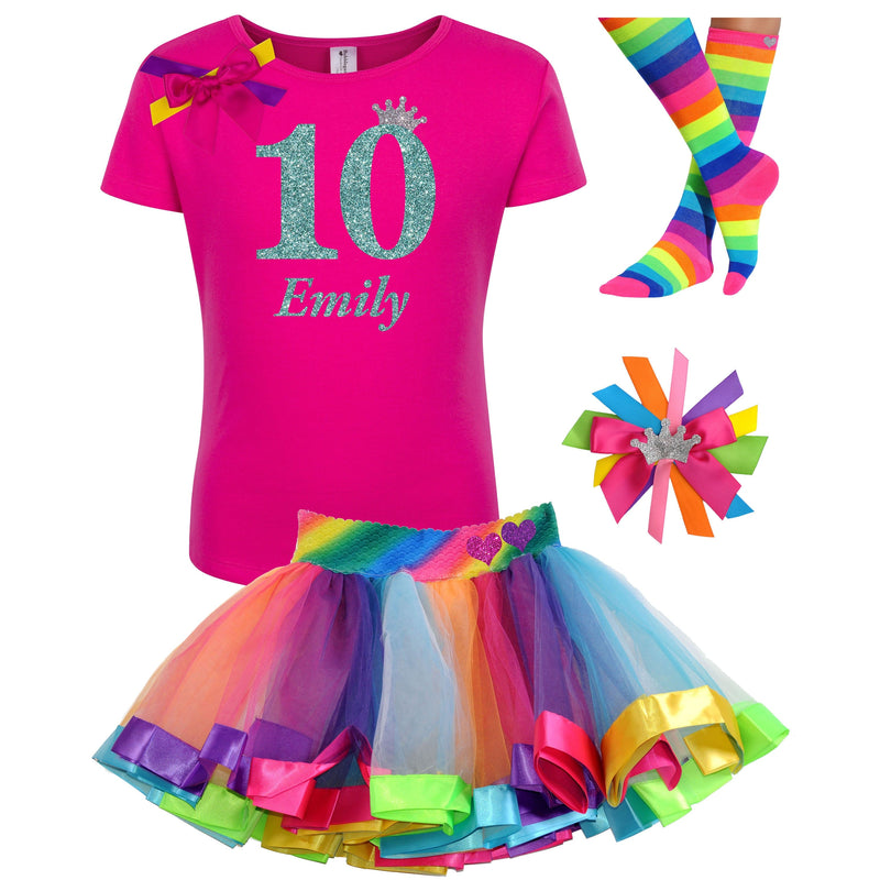 10th Birthday Shirt Princess Crown T-shirt Personalized Name Age 10 Glitter Glow Party Rainbow Ten Tween Girl Party Kids Birthday Shirt