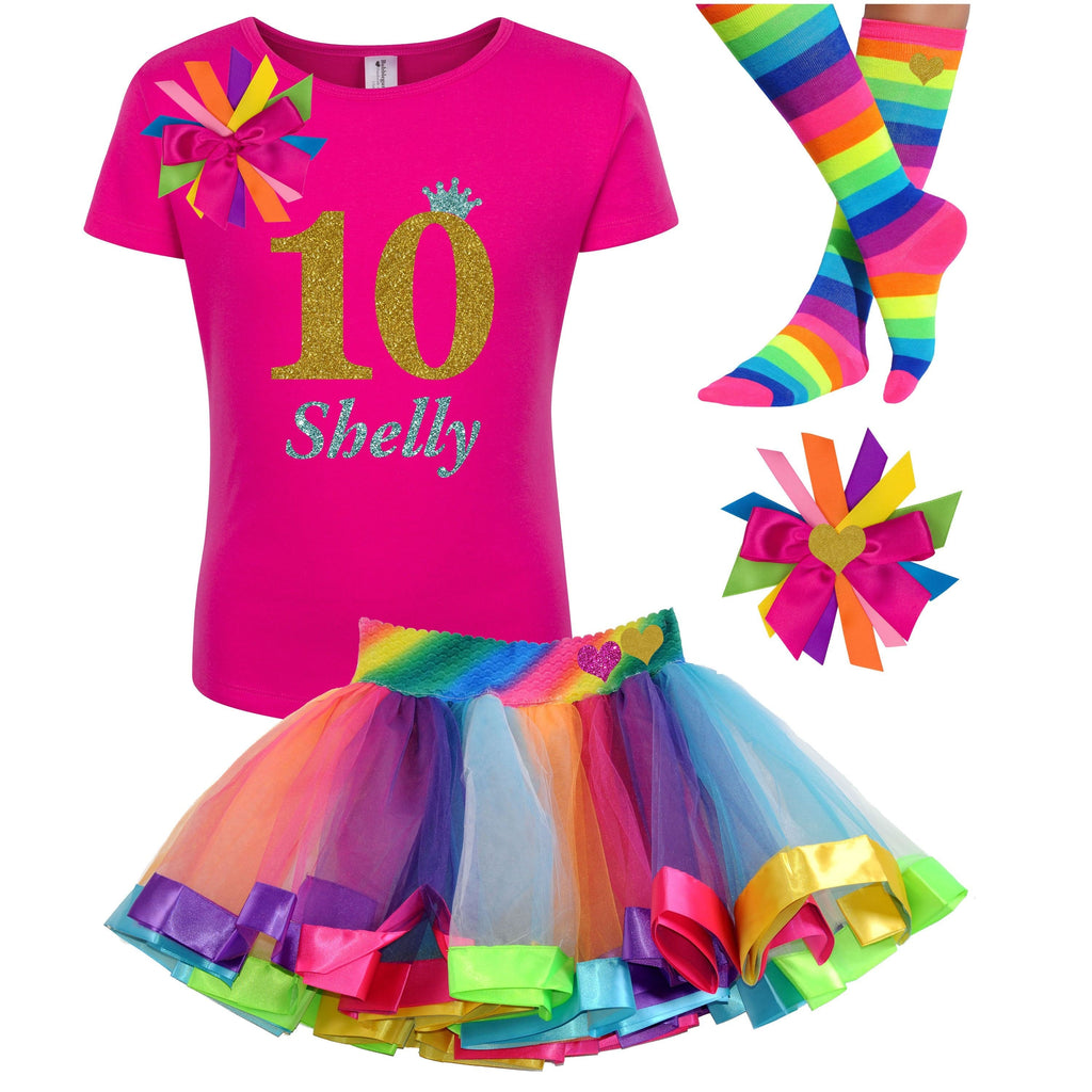 10th Birthday Outfit Gold Rainbow - 10th Birthday - Bubblegum Divas Store