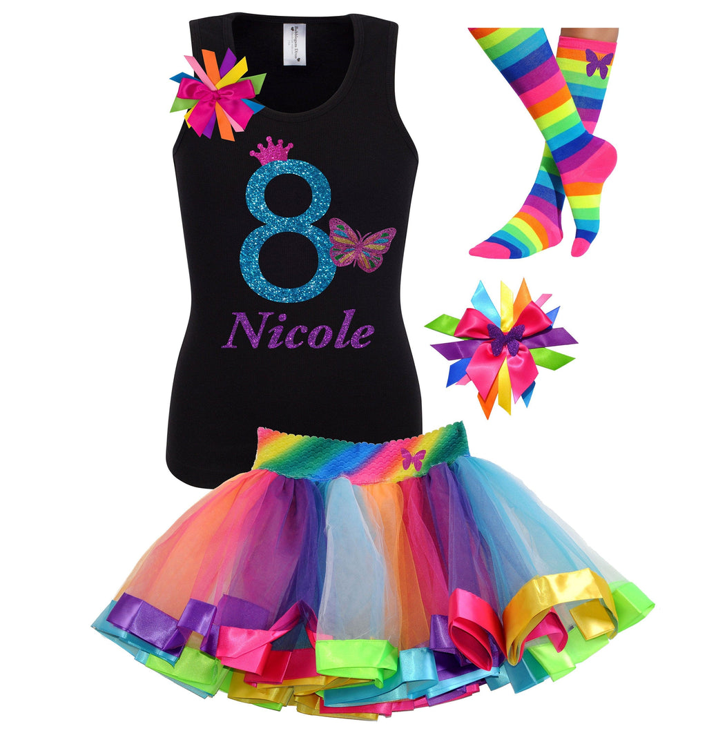 8th Birthday Butterfly Shirt Rainbow Tutu Monarch Butterfly Hair Bow Butterfly Socks Personalized Name 8