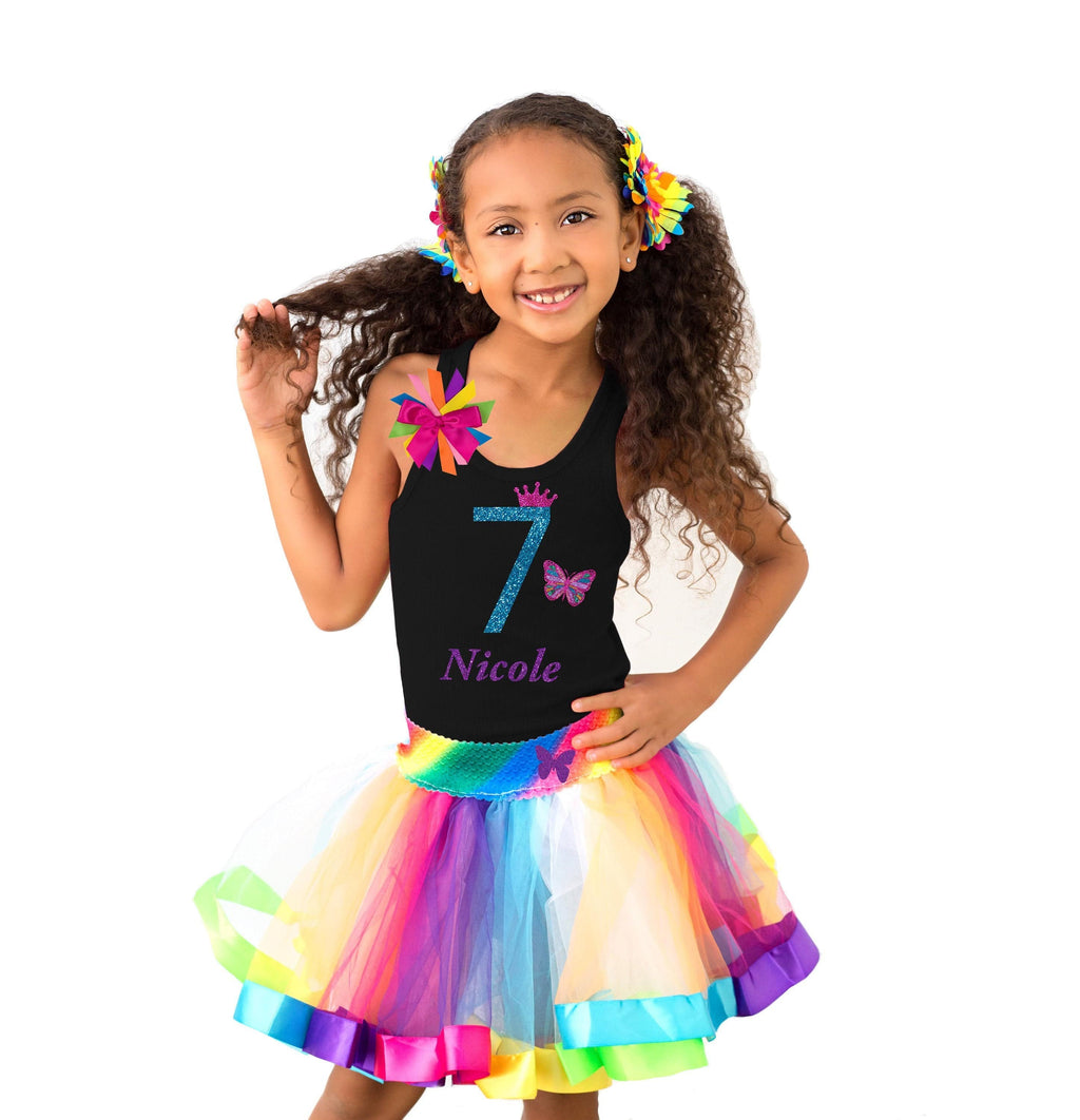 7th Birthday Butterfly Shirt Rainbow Tutu Dress Monarch Butterfly Hair Bow Butterfly Socks Personalized Name Kids Butterfly Party