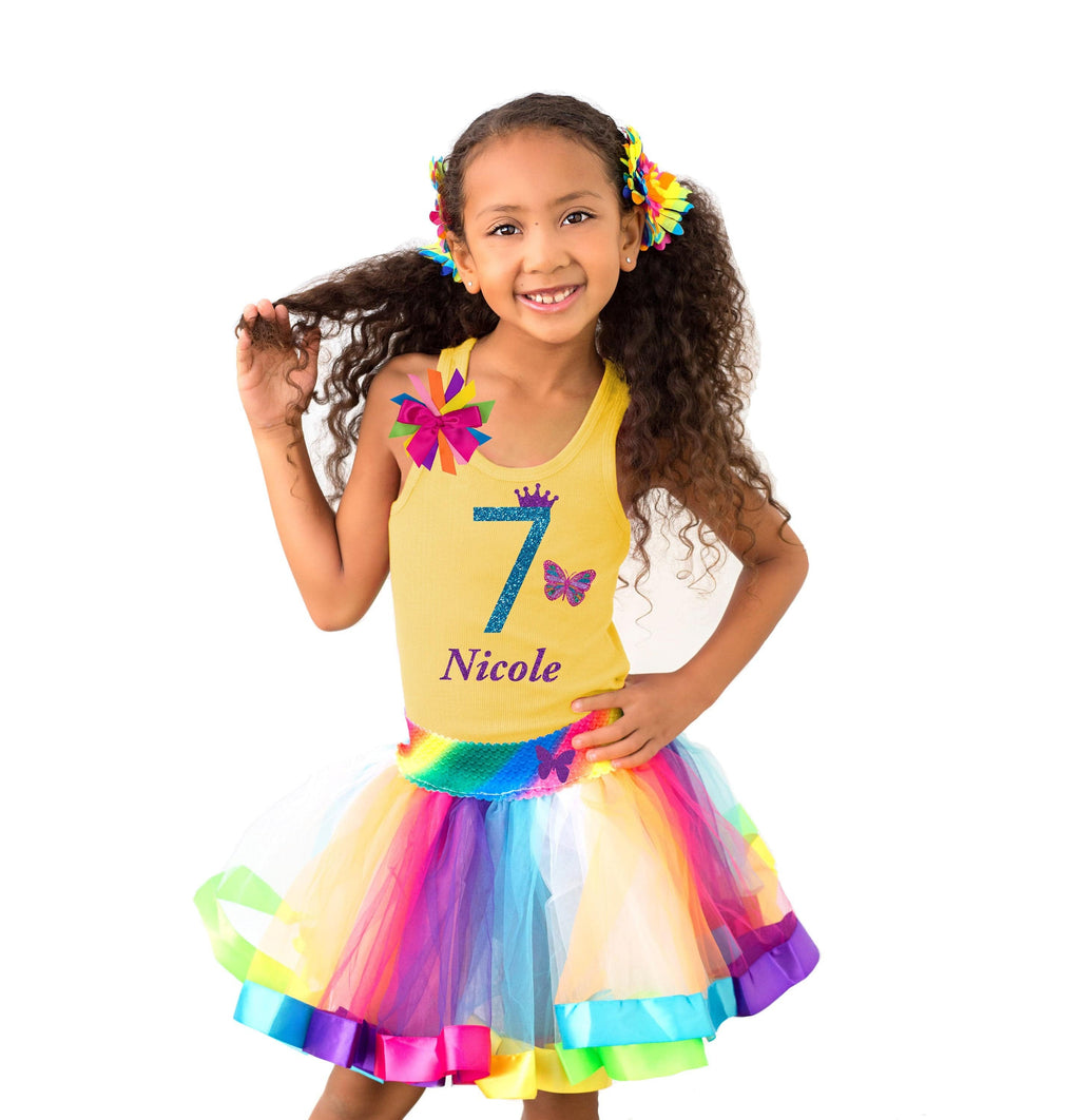 7th Birthday Girl Outfit - Rainbow Butterfly - 7th Birthday Outfit - Bubblegum Divas Store