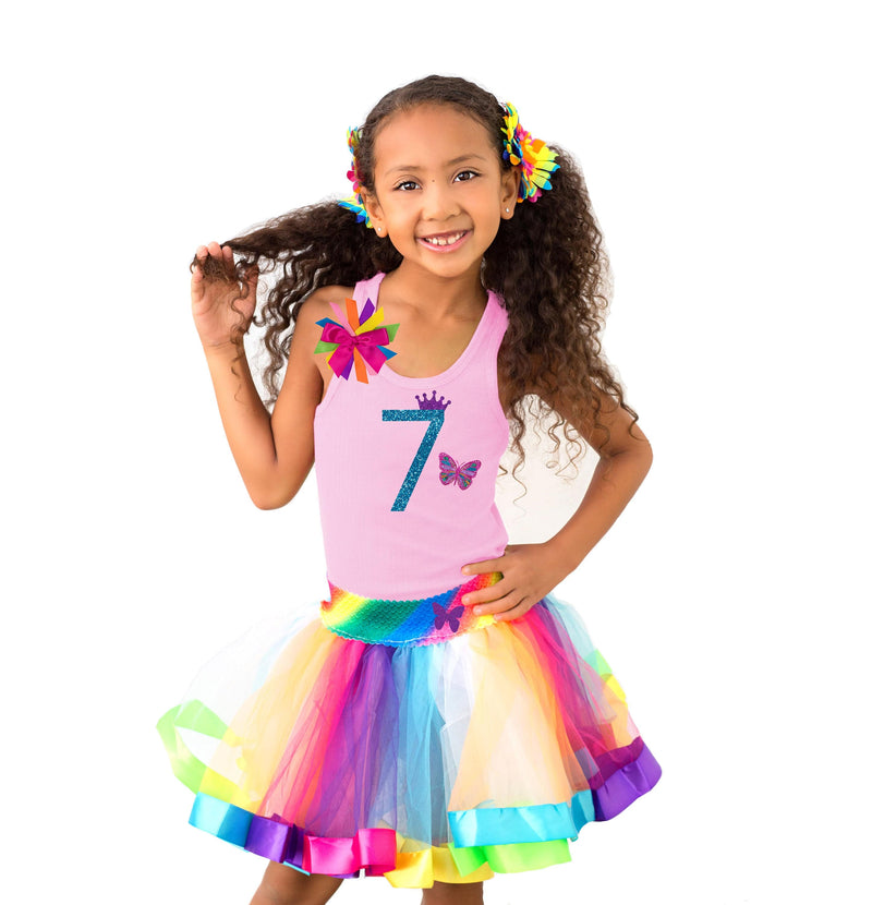 Butterfly 7th Birthday Shirt 7 Butterfly Hair Bow Butterfly Socks Rainbow Tutu Dress Girls Rainbow Outfit Personalized Name