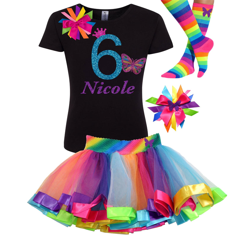 6th Birthday Rainbow Tutu Outfit Monarch Butterfly Shirt Hair Bow Butterfly Socks Personalized Name Butterflies Outfit Butterfly Dress 6 - 6th Birthday - Bubblegum Divas Store