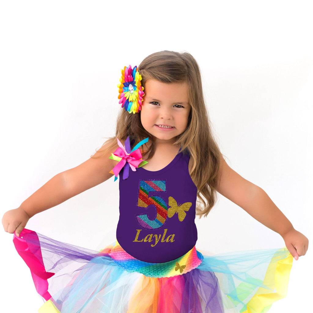 Rainbow 5th Birthday Shirt Purple Butterfly Gold Wings Glitter Sparkle Hair Bow Rainbow Knee Sock Fairy Princess Rainbow Tutu Personalized 5 - 5th Birthday - Bubblegum Divas Store
