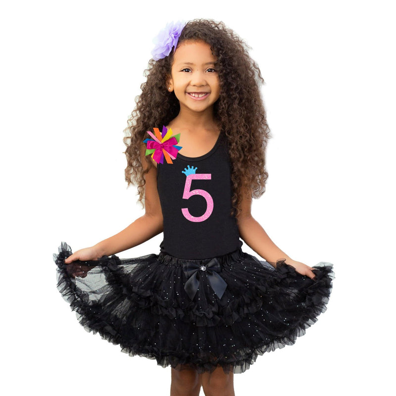 5th Birthday Shirt Tween Girl Outfit Glow Party Neon Pink Sparkle 5 Black Tutu Skirt Personalized Name Rainbow Socks Birthday Hair bow - 5th Birthday - Bubblegum Divas Store