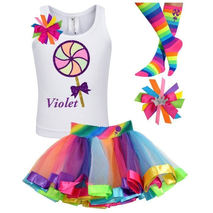 Neon Lollipop Shirt Candyland Shirt Girls Birthday Outfit Swirl Rainbow Tutu Personalized Name 1st 2nd 3rd 4th 5th 6th 7th 8th 9th 10th 12