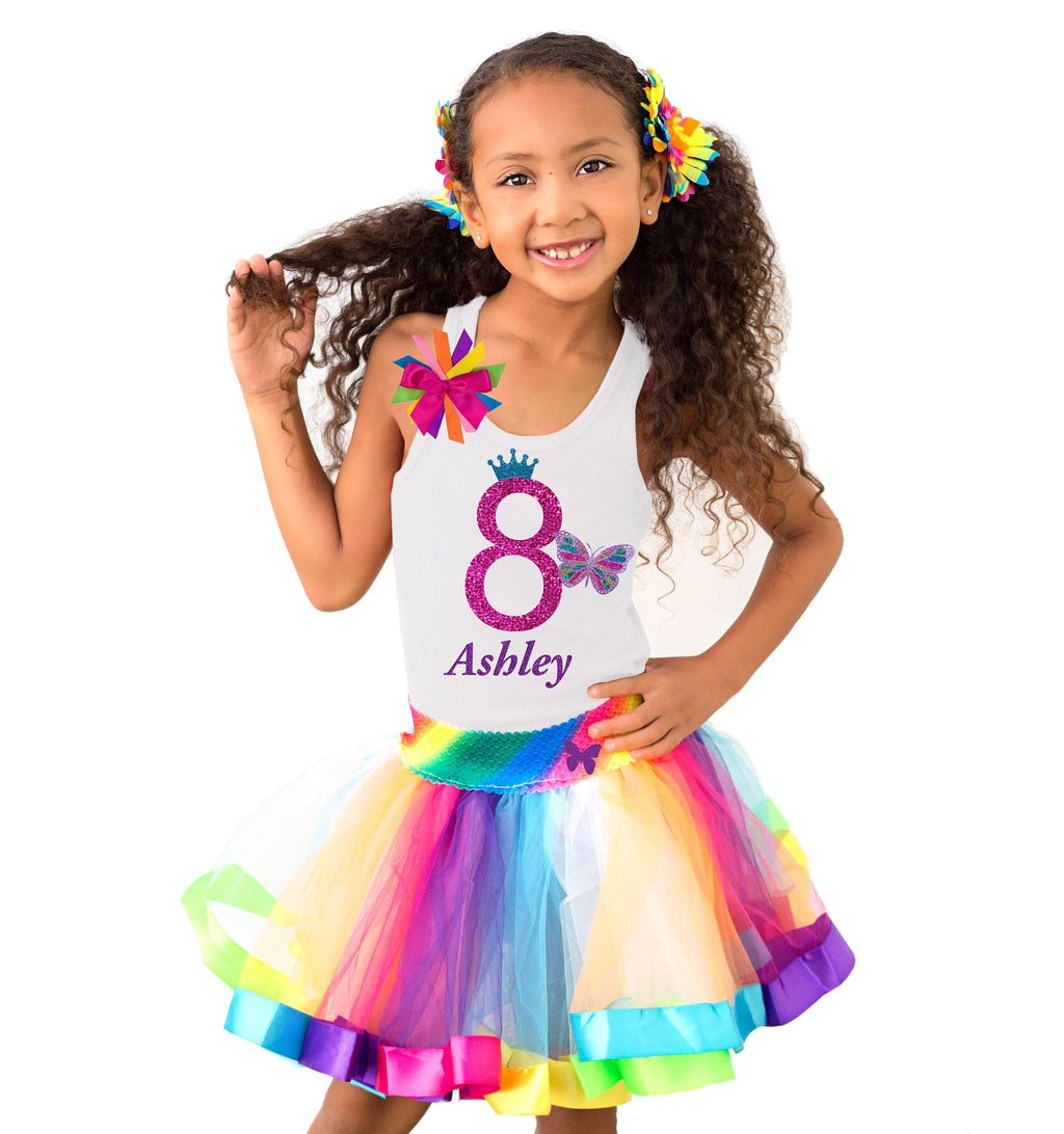 Rainbow Butterfly 8th Birthday Outfit - 8th Birthday - Bubblegum Divas Store