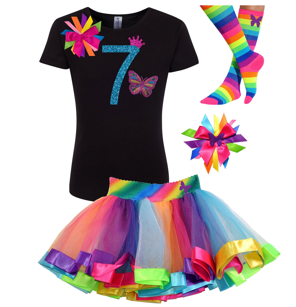 7th Birthday Butterfly Shirt Rainbow Tutu Outfit Monarch Butterfly Hair Bow Butterfly Socks Girls Butterfly Fairy Wings Personalized Name