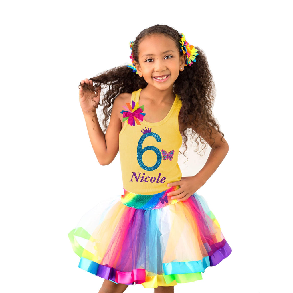 6th Birthday Shirt Yellow Butterfly Tee Rainbow Outfit  6 Purple Butterfly Hair Bow Rainbow Knee Socks Rainbow Tutu Dress Personalized Name