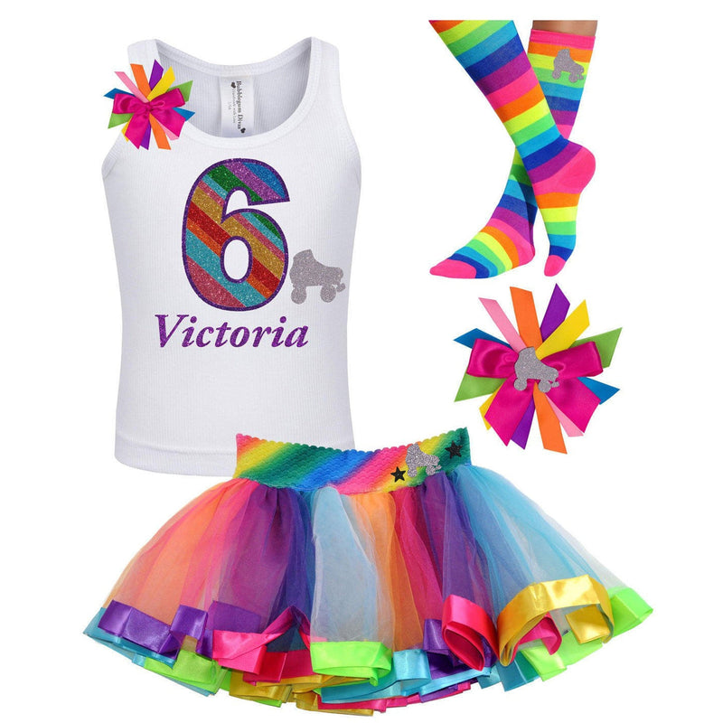 6th Birthday Girl Skate Party Outfit Rainbow - Outfit - Bubblegum Divas Store