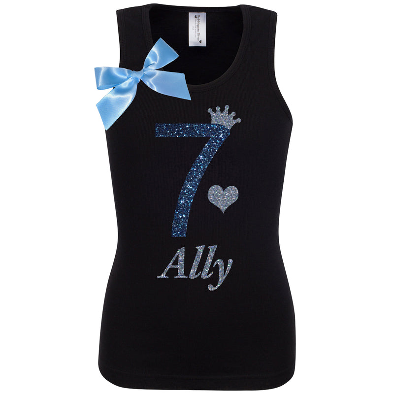 7th Birthday Shirt Blue Sparkle Top Seventh Party Black Tank