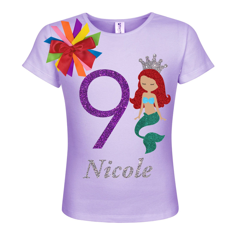 9th Birthday Shirt Red Hair Mermaid Girl - Teal - 9th Birthday - Bubblegum Divas Store