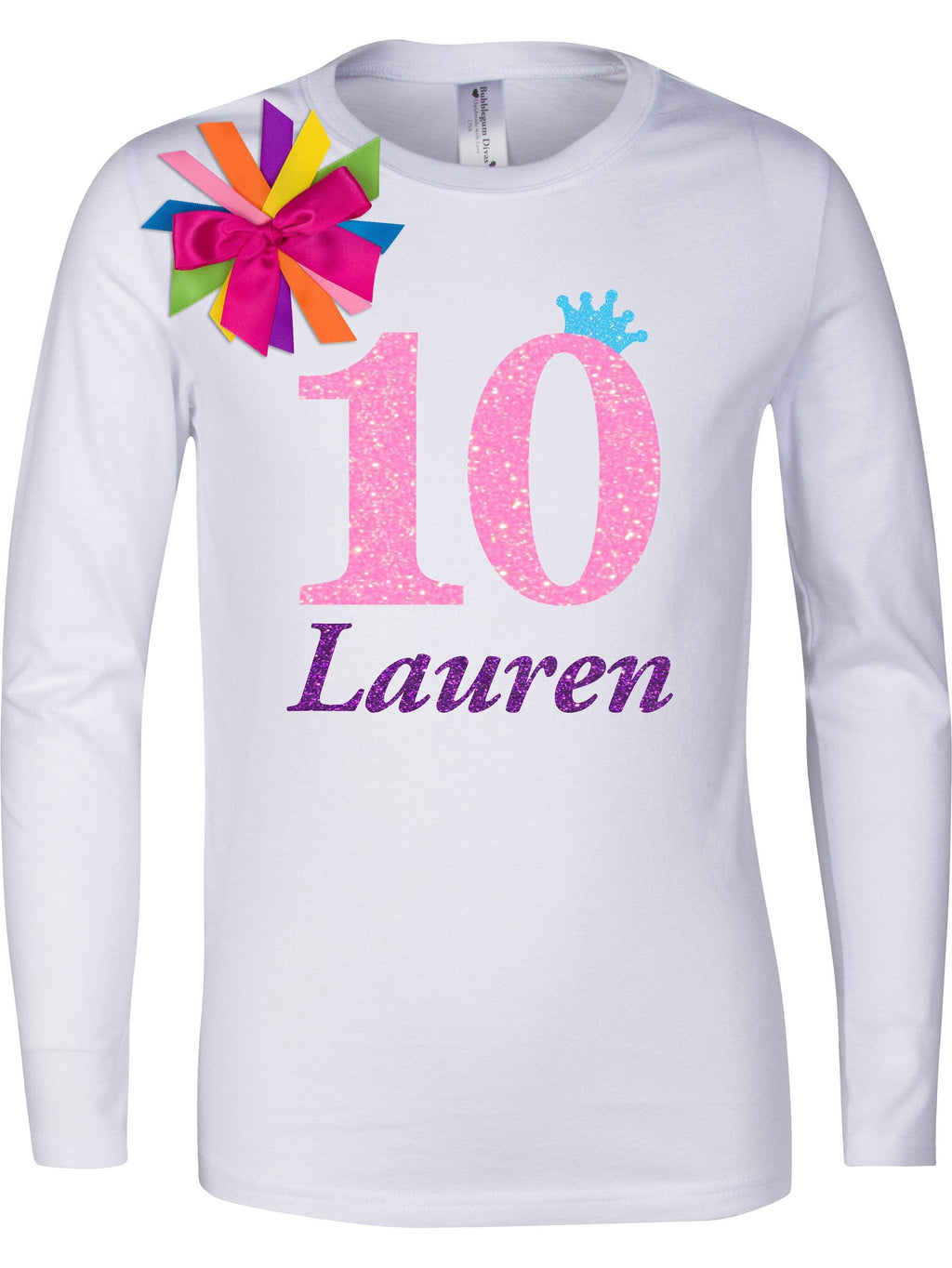 10th Birthday Shirt Tween Girl Outfit Glow Party Neon Pink Sparkle 10 Rainbow Tutu Skirt Personalized