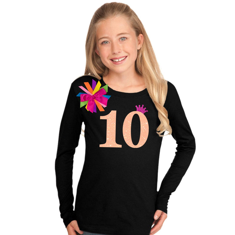 10th Birthday Girl Shirt Neon Orange - 10th Birthday Shirt - Bubblegum Divas Store