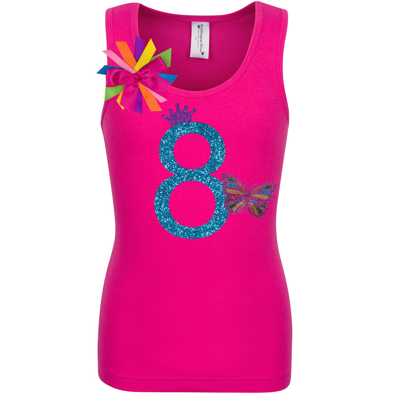 8th Birthday Girl Butterfly Shirt