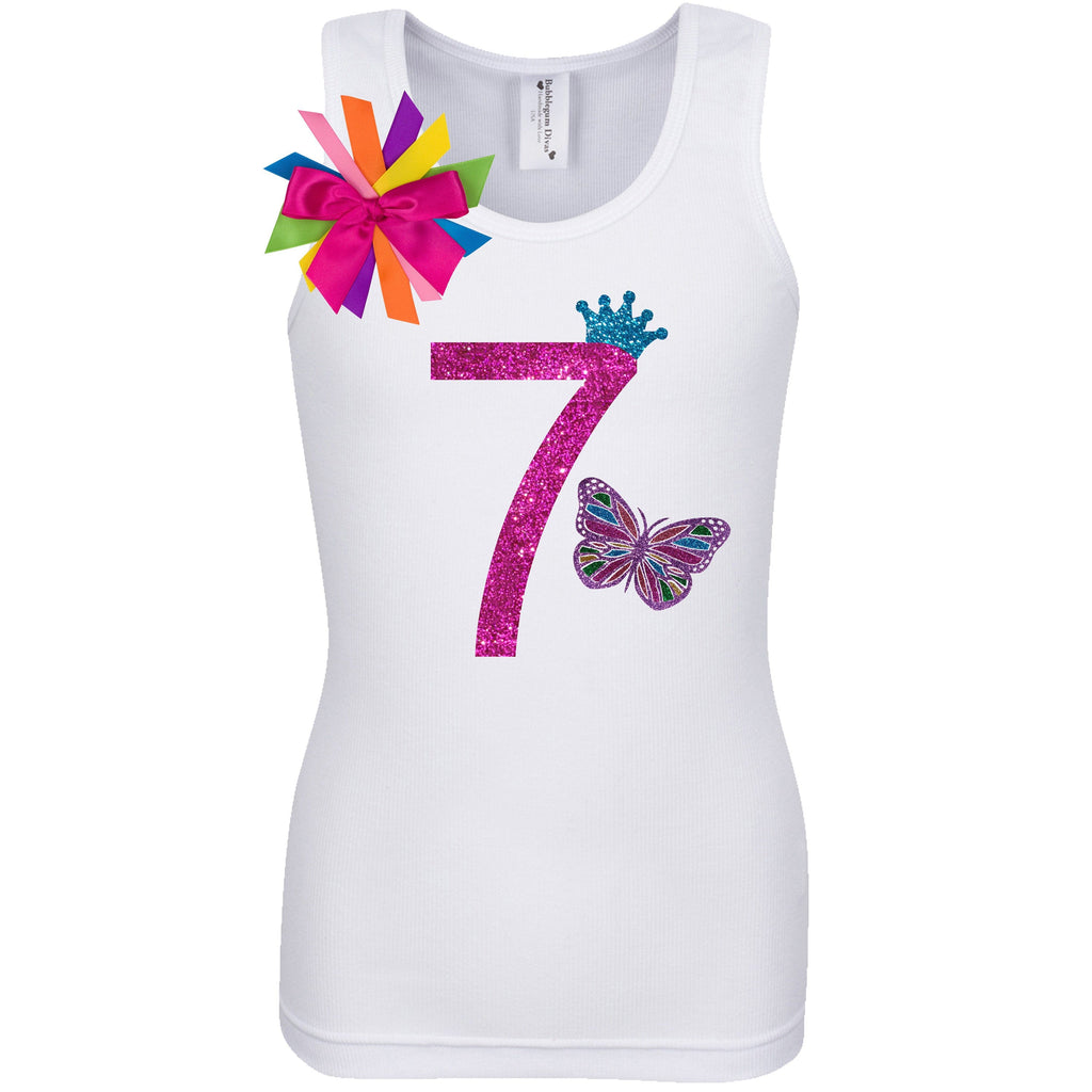 7th Birthday Girl Outfit - Rainbow Butterfly - 7th Birthday - Bubblegum Divas Store
