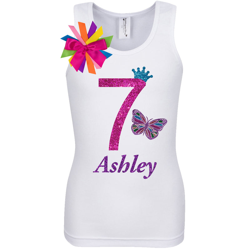 Rainbow Butterfly 7th Birthday, Rainbow butterfly Shirt, Butterfly Birthday, 7th Birthday Party, Butterfly Party Wings, Personalized Name