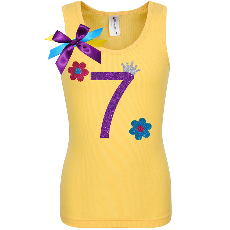 Daisy Flower 7th Birthday Shirt Yellow Tank Top Purple Number 7 Princess Tiara Crown Rainbow Tutu Skirt Big Hair bow Personalized Name Shirt