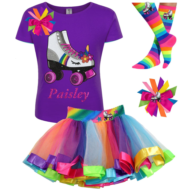 Unicorn Roller Skate Birthday Outfit Rainbow Tutu Skirt Unicorn Knee High Socks Birthday Girl Shirt Skating Party Kids 4 5 6 7 8 9 10 11 12