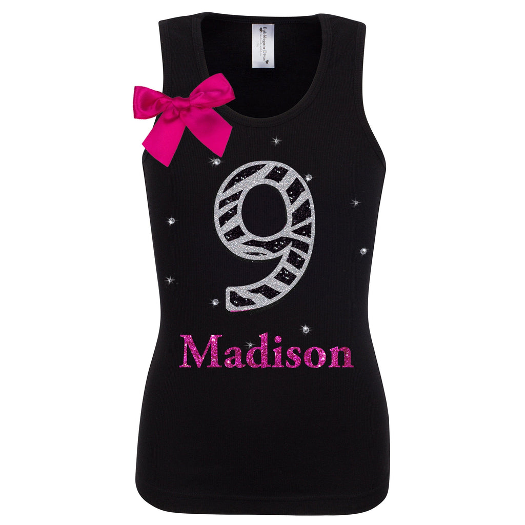 9th Birthday Tops for Girls Shirt Tween 9 years old Birthday Tank Top Black Zebra Number 9 Rhinestones Personalized Name Shirt Girl