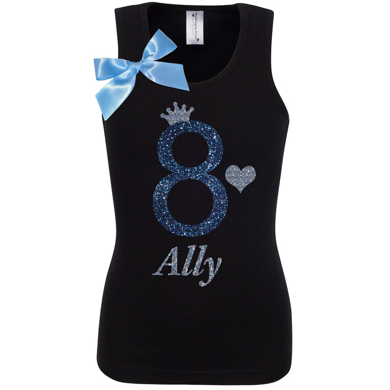 8th Birthday Shirt Girls Party Outfit Black Sparkle