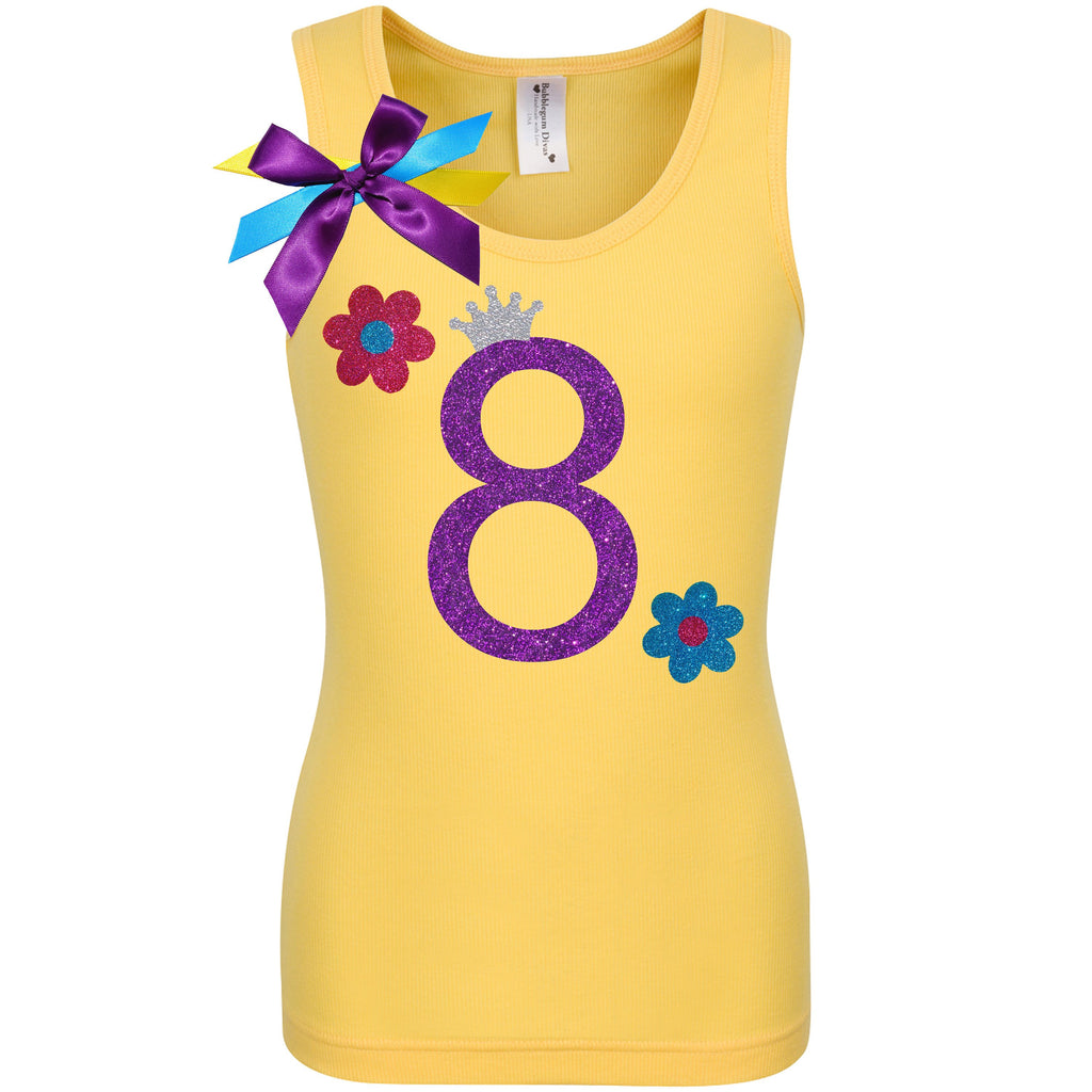 8th Birthday Girl Shirt Daisy Flower