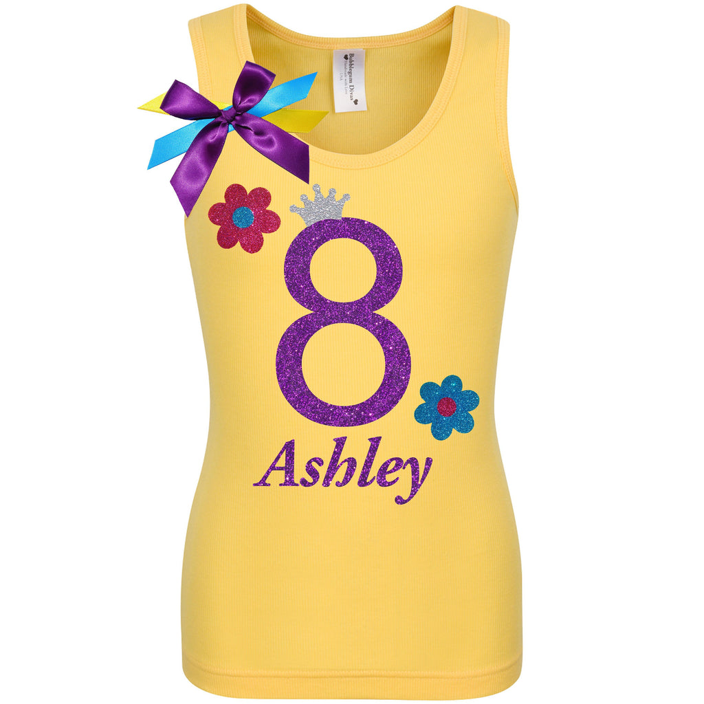 8th Birthday Girl Shirt Yellow Daisy Flower Tank Top Purple 8 Rainbow Tutu Skirt Glitter Flower Hair bow Personalized Name