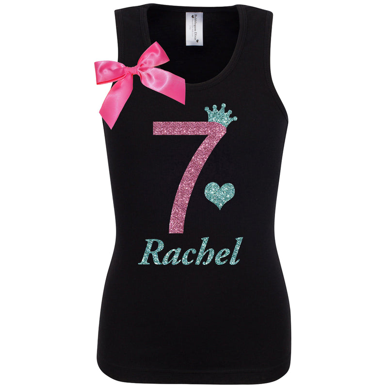 7th Birthday Girl Shirt Black Tutu Skirt 7 Birthday Outfit Girls Pink Glitter Sparkle Tank Top Personalized T-Shirt Party Gift Kids Clothing