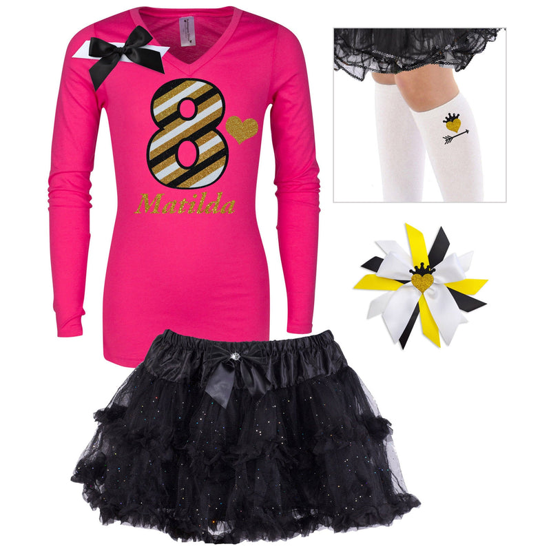 8th Birthday Girl Long Sleeve Shirt 8 Glitter Stripes Hot Pink Gold Black Tutu Skirt Gold Arrow Heart Socks Custom Name Princess Hair Bow