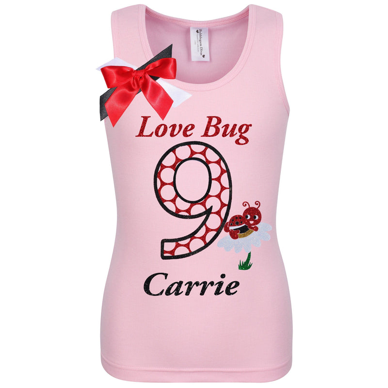 9th Birthday Girl Shirt Love Bug Red Polka Dots 9 Personalized