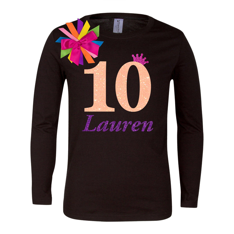 10th Birthday Shirt Tween Girl Outfit Glow Party Neon Orange Sparkle 10 Rainbow Tutu Skirt Personalized Name Rainbow Socks Birthday Hair bow