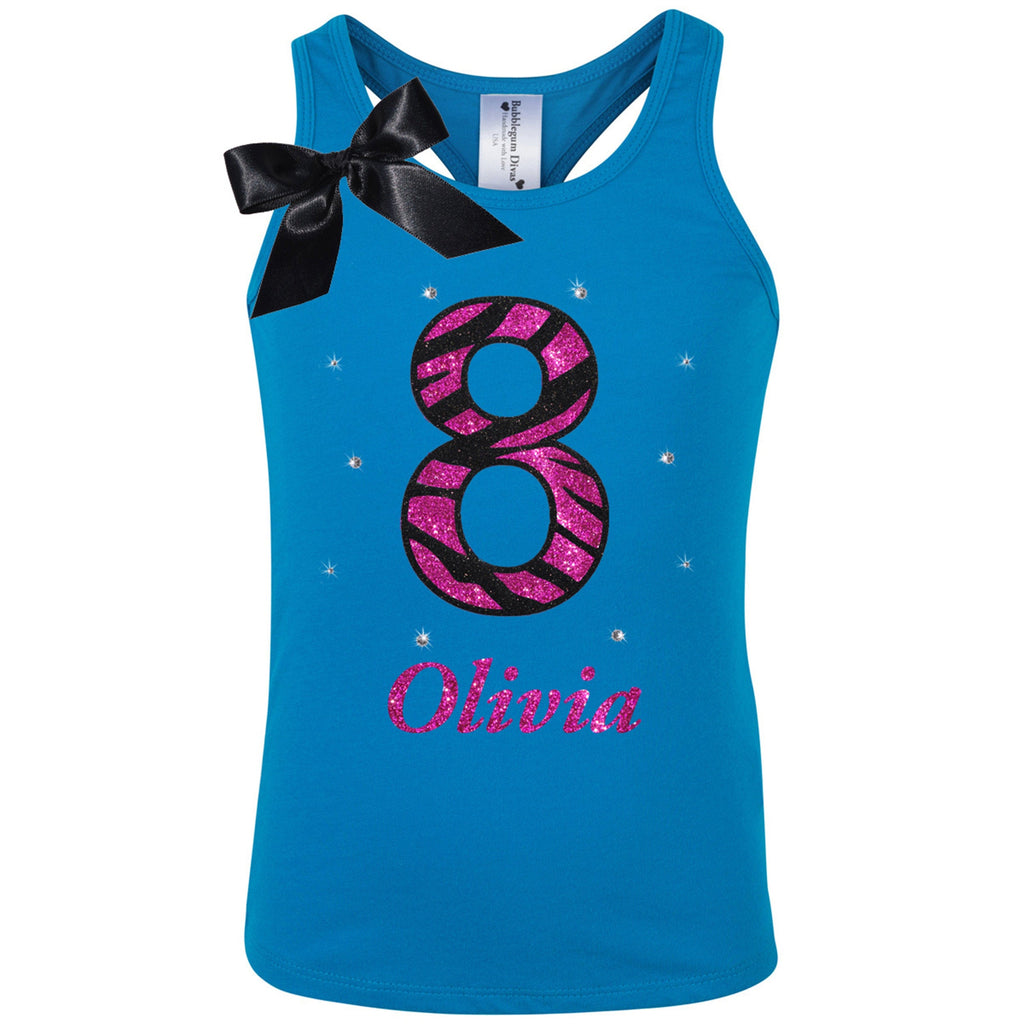 Zebra 8th Birthday Girl Shirt