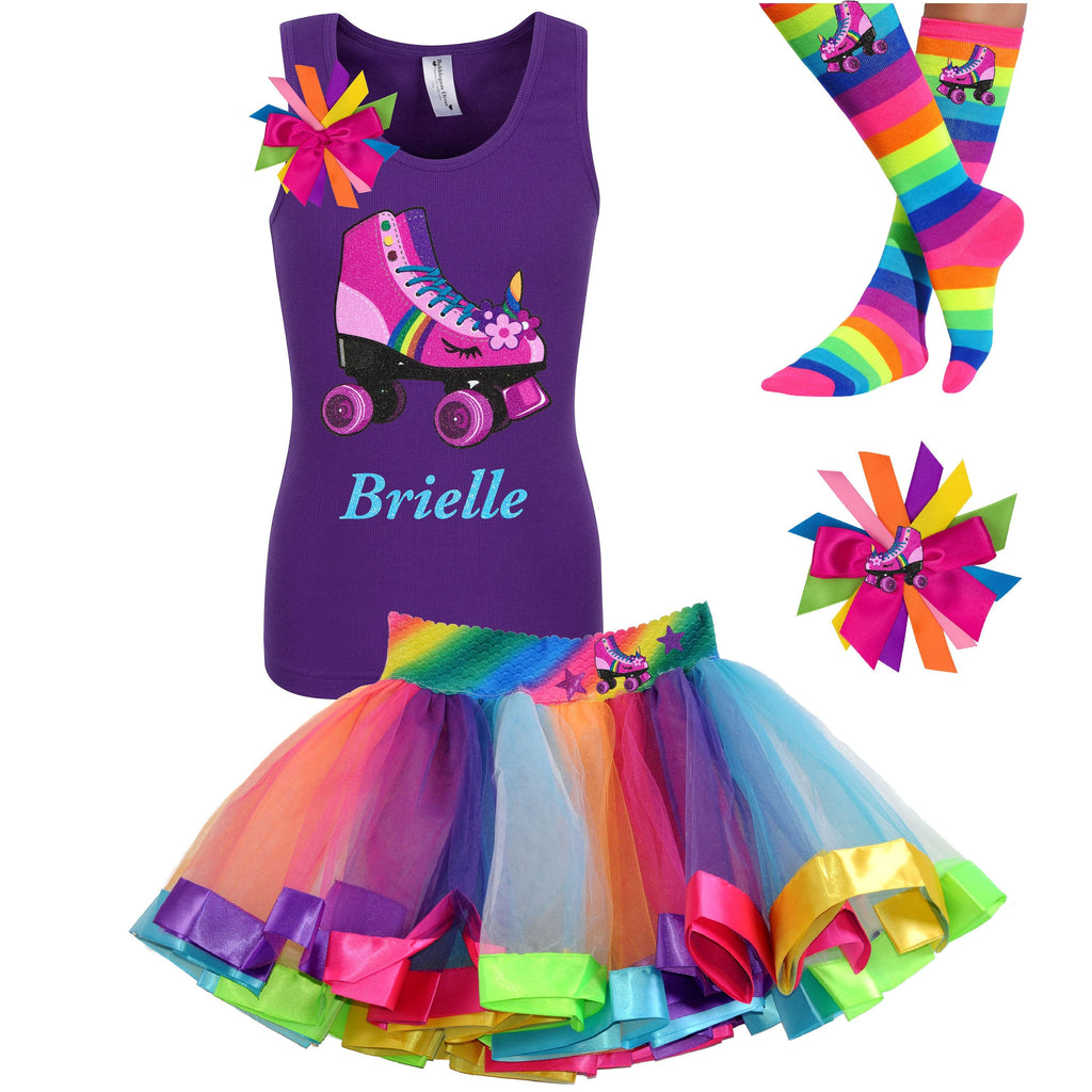 Purple tank top shirt with personalized name and pink unicorn roller skate, Rainbow tutu skirt with stars and roller skate, rainbow knee socks with roller skates, and birthday roller skate hair bow