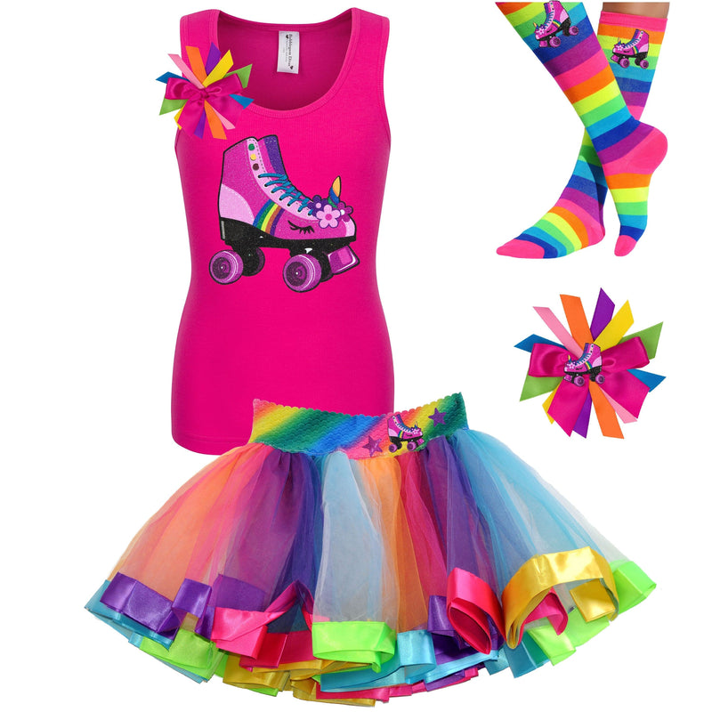 Pink tank top shirt with pink unicorn roller skate, Rainbow tutu skirt with stars and roller skate, rainbow knee socks with roller skates, and birthday roller skate hair bow