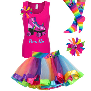 Pink tank top shirt with personalized name and pink unicorn roller skate, Rainbow tutu skirt with stars and roller skate, rainbow knee socks with roller skates, and birthday roller skate hair bow