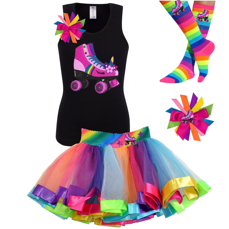 black tank top shirt with pink unicorn roller skate, Rainbow tutu skirt with stars and roller skate, rainbow knee socks with roller skates, and birthday roller skate hair bow
