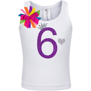 6th Birthday Girl Shirt Purple Rainbow - Shirt - Bubblegum Divas Store