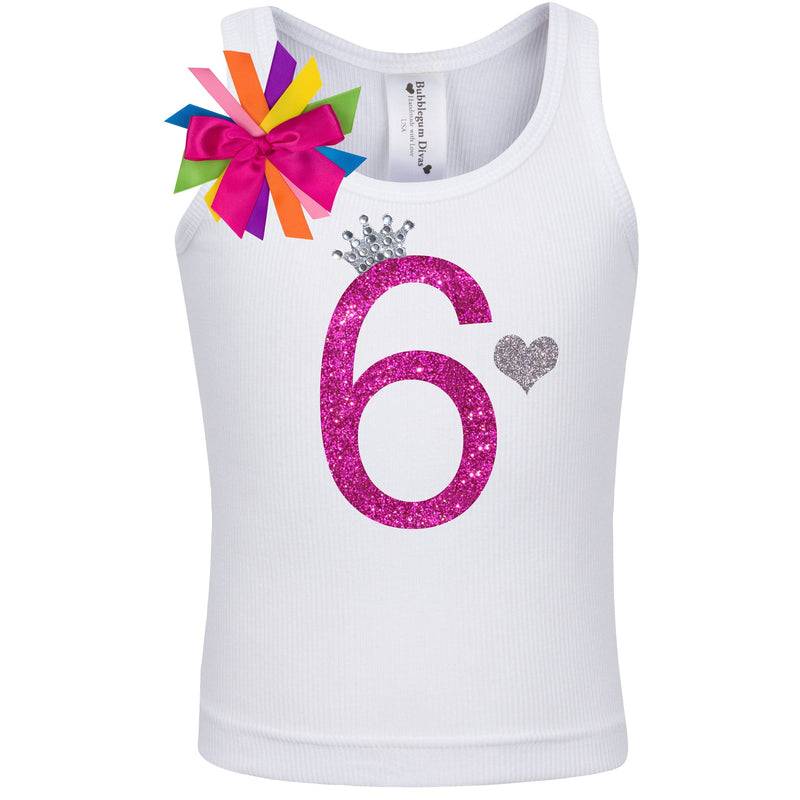 Birthday Girl Shirt 6th Birthday Outfit Rhinestone Shirt Birthday Tank Top Shirt Rainbow Party Dress 6 Birthday Tutu Skirt Kids Name T-Shirt